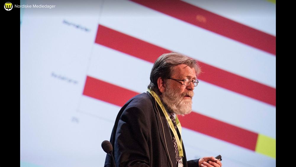 Frank Aarebrot (professor i samanliknande politikk) la også i år fram Medieundersøkelsen, som inkluderer spørsmål om journalistar sine politiske preferansar (Foto: Flickr.com/mediedager)