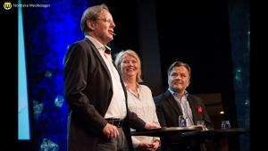 Ib Thomsen i Frp (t.v.) meiner journalistikken ikkje er politisk farga. Thomsen var ein del av panelet som kommenterte Medieundersøkelsen (Foto: Flickr.com/mediedager)