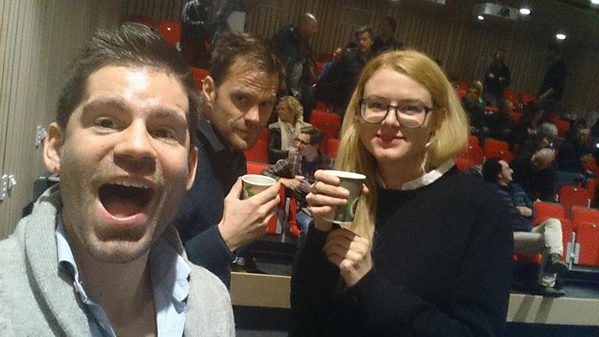 Eg (t.v.), og mine kollegaer Roar Bakke og Kjersti Nedland Røneid presenterte tankar om tverrfagleg samarbeid for MK-lærara i Rogaland